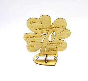 Geldgeschenk Kleeblatt 16 cm zum 70. Geburtstag,  Herzlichen Glückwunsch zum 70 - Handarbeit kaufen