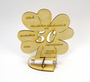 Personalisiertes Geburtstagsgeschenk ♥ zum 50. Geburtstag, ♥ Kleeblatt 16 cm  für Geld und Gutschein - Handarbeit kaufen