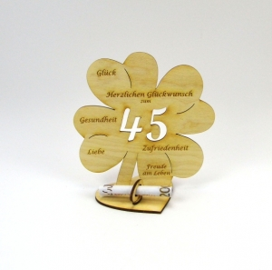 Geldgeschenk Kleeblatt 16 cm zum 45. Geburtstag,  Herzlichen Glückwunsch zum 45 - Handarbeit kaufen