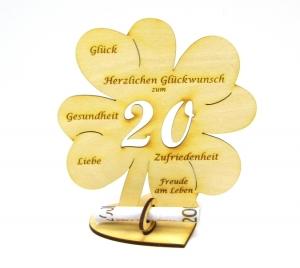 Geldgeschenk Kleeblatt 16 cm zum 20. Geburtstag,  Herzlichen Glückwunsch zum 20  - Handarbeit kaufen