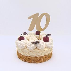 Tortenstecker ♥  Zahl 10 ♥  zum Geburtstag oder Jubiläum aus Holz, Torten Topper - Handarbeit kaufen