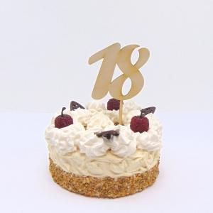 Tortenstecker ♥ Zahl 18 ♥ zum Geburtstag oder Jubiläum aus Holz, Torten Topper  - Handarbeit kaufen