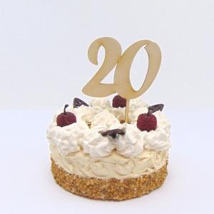 Tortenstecker ♥ Zahl 20 ♥ zum Geburtstag oder Jubiläum aus Holz, Torten Topper   - Handarbeit kaufen