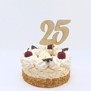 Tortenstecker ♥ Zahl 25 ♥ zum Geburtstag oder Jubiläum aus Holz, Torten Topper   - Handarbeit kaufen
