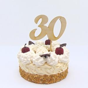 Tortenstecker  ♥ Zahl 30 ♥  zum Geburtstag oder Jubiläum aus Holz, Torten Topper   - Handarbeit kaufen