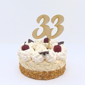 Tortenstecker ♥  Zahl 33 ♥  zum Geburtstag oder Jubiläum aus Holz, Torten Topper    - Handarbeit kaufen
