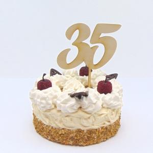 Tortenstecker  ♥ Zahl 35 ♥  zum Geburtstag oder Jubiläum aus Holz, Torten Topper  - Handarbeit kaufen