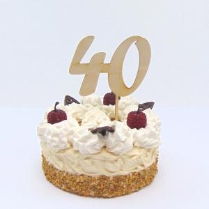 Tortenstecker ♥ Zahl 40 ♥ zum Geburtstag oder Jubiläum aus Holz, Torten Topper - Handarbeit kaufen