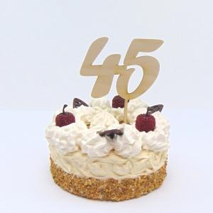 Tortenstecker ♥ Zahl 45 ♥ zum Geburtstag oder Jubiläum aus Holz, Torten Topper  - Handarbeit kaufen