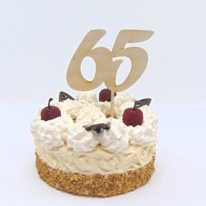 Tortenstecker ♥ Zahl 65 ♥ zum Geburtstag oder Jubiläum aus Holz, Torten Topper   - Handarbeit kaufen