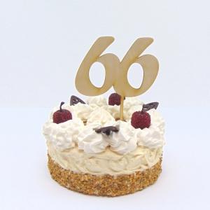 Tortenstecker ♥ Zahl 66 ♥ zum Geburtstag oder Jubiläum aus Holz, Torten Topper - Handarbeit kaufen