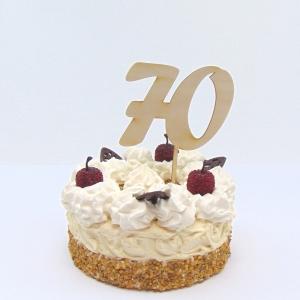 Tortenstecker ♥ Zahl 70 ♥ zum Geburtstag oder Jubiläum aus Holz, Torten Topper - Handarbeit kaufen