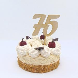 Tortenstecker ♥ Zahl 75 ♥ zum Geburtstag oder Jubiläum aus Holz, Torten Topper - Handarbeit kaufen