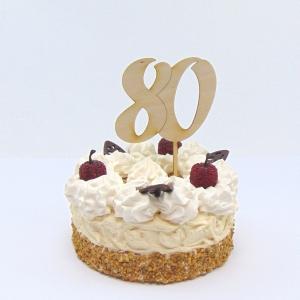Tortenstecker ♥ Zahl 80 ♥ zum Geburtstag oder Jubiläum aus Holz, Torten Topper - Handarbeit kaufen