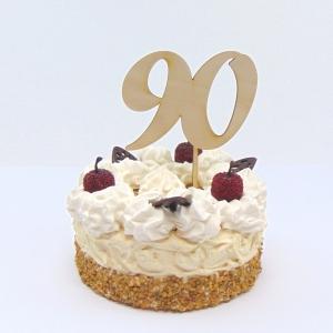 Tortenstecker ♥ Zahl 90  ♥ zum Geburtstag oder Jubiläum aus Naturholz, Torten Topper   - Handarbeit kaufen