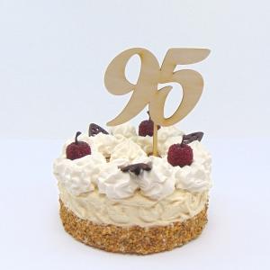 Tortenstecker ♥ Zahl 95 ♥ zum Geburtstag oder Jubiläum aus Holz, Torten Topper   - Handarbeit kaufen