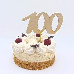 Tortenstecker  ♥ Zahl 100 ♥  zum Geburtstag oder Jubiläum aus Holz, Torten Topper   - Handarbeit kaufen
