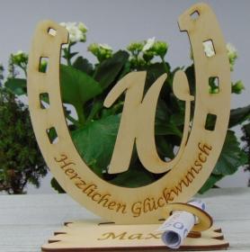 Personalisiertes Geschenk zum 10. Geburtstag, Hufeisen 15 cm aus Holz mit Geldscheinhalter und Gutscheinhalter - Handarbeit kaufen