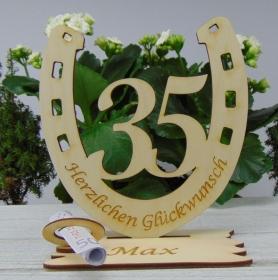 Personalisiertes Geschenk zum 35. Geburtstag, oder Jubiläum Hufeisen 15 cm aus Holz mit Geldscheinhalter und Gutscheinhalter - Handarbeit kaufen