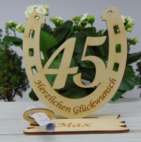 Personalisiertes Geschenk zum 45. Geburtstag, Hufeisen 15 cm aus Holz mit Geldscheinhalter und Gutscheinhalter - Handarbeit kaufen