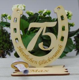 Personalisiertes Geschenk zum 75. Geburtstag, Hufeisen 15 cm aus Holz mit Geldscheinhalter und Gutscheinhalter - Handarbeit kaufen