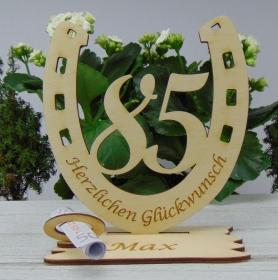Personalsiertes Geschenk zum 85. Geburtstag, Hufeisen 15 cm aus Holz mit Geldschein- oder Gutschein Geschenk - Handarbeit kaufen
