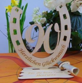 Personalisiertes Geschenk zum 90. Geburtstag, Hufeisen 15 cm aus Holz  mit Geldschein oder Gutschein - Handarbeit kaufen