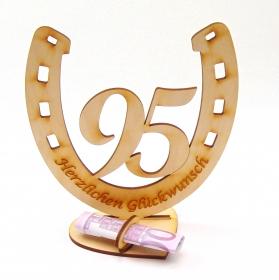 Personalisiertes Geschenk zum 95. Geburtstag, Hufeisen 15 cm aus Holz , mit Geldscheinhalter - Handarbeit kaufen