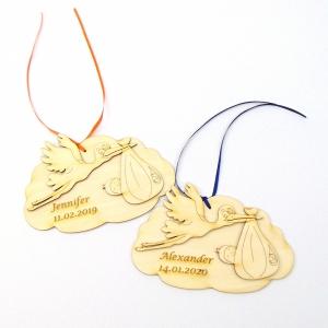 Personalisiertes Geldgeschenk ♥ zur Geburt, zur Taufe ♥ oder Türschild Storch auf Wolke, 15 cm lang aus Naturholz zum bemalen - Handarbeit kaufen