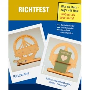 Geldgeschenk oder Gutschein Zum Richtfest eine Richtkrone Tischdeko aus Holz mit Gravur  - Handarbeit kaufen