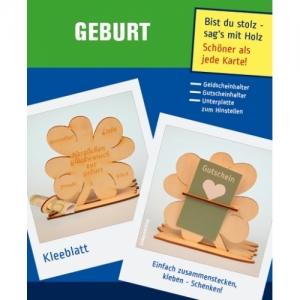 Naturholz  ♥ Zur Geburt ♥  Personalisiertes Geld oder Gutscheingeschenk  Kleeblatt Tischdeko aus Holz mit Gravur  - Handarbeit kaufen