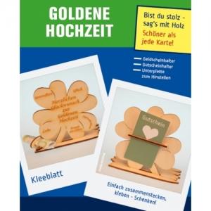Graviertes ♥ zur Goldenen Hochzeit ♥  Kleeblatt Tischdeko aus Naturholz mit ihren Wunschnamen Personalisiert - Handarbeit kaufen