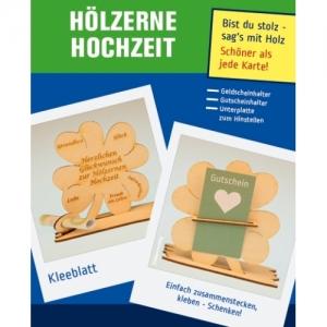 Personalisiertes ♥ zur Hölzernen Hochzeit  ♥ Kleeblatt Geschenk für Geld oder Gutschein Tischdeko aus Holz mit Gravur  - Handarbeit kaufen