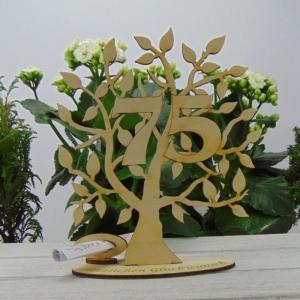 Lebensbaum aus Holz, Geschenk zum 75. Geburtstag,  mit Gravur Geldgeschenk Gutscheingeschenk  - Handarbeit kaufen