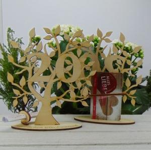 zum 20. Jubiläum, Lebensbaum Personalisiertes Geldgeschenk Gutschein Geschenk oder als Tischdeko aus Birkenholz Firmenjubiläum - Handarbeit kaufen