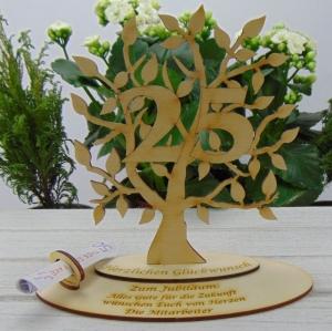 Zum 25. Geburtstag, Silberhochzeit Personalisiert Geldgeschenk Gutschein Geschenk  als Tischdeko aus Birkenholz Jubiläum - Handarbeit kaufen