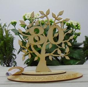 Geschenk zum 80. Geburtstag, Personalisiertes Gutschein oder Geldgeschenk Tischdekoration aus Birkenholz  - Handarbeit kaufen