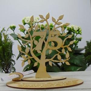 zum 75. Jubiläum Lebensbaum aus Holz, Personalisiert Geldgeschenk, Gutschein Geschenk oder als Tischdeko aus Birkenholz  - Handarbeit kaufen