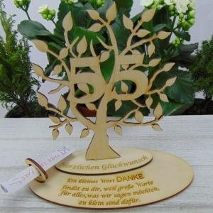 Zum 55. Geburtstag,  Personalisiertes Geldgeschenk Gutschein Geschenk oder als Tischdeko aus Birkenholz Jubiläum - Handarbeit kaufen
