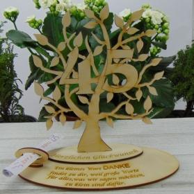 Zum 45. Geburtstag, Personalisiertes Geldgeschenk , Gutschein Geschenk oder als Tischdeko aus Birkenholz Jubiläum - Handarbeit kaufen