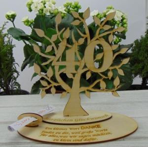 Zum 40. Geburtstag,  Personalisiertes Geldgeschenk Gutschein Geschenk oder als Tischdeko aus Birkenholz Jubiläum - Handarbeit kaufen
