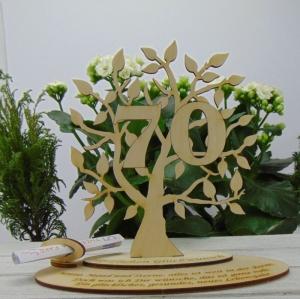 Zum 70 Geburtstag Personalisiert als Tischdeko , Geldgeschenk oder Gutschein Geschenk aus Birkenholz Jubiläum - Handarbeit kaufen