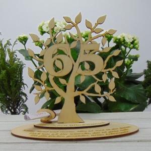 zum 65. Firmenjubiläum Personalisiert, Lebensbaum aus Holz Geldgeschenk Gutschein Geschenk Tischdeko zum verschenken - Handarbeit kaufen