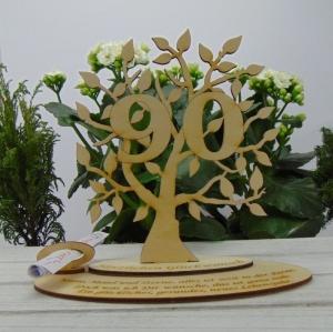 Zum 90.Geburtstag/ Geburtstagsdekoration ★ mit Personalisierung  Lebensbaum mit Jubiläumszahl★ zum Verschenken oder selbst dekorieren - Handarbeit kaufen