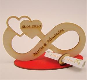 Personalisierte Unentlichkeit mit Gravur als Tischdeko für Hochzeit oder Verlobung aus Birkenholz Geldgeschenk   - Handarbeit kaufen
