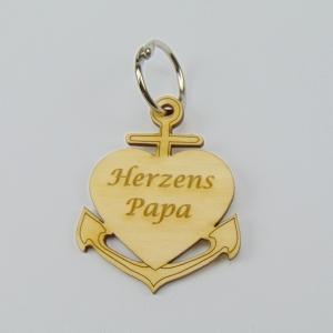 Schlüsselanhänger aus Holz ♥ Herzenspapa ♥ Anker mit Herz zum Verschenken  - Handarbeit kaufen