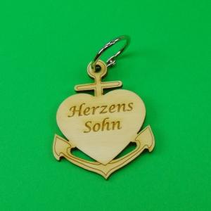 Schlüsselanhänger aus Holz ♥ Herzenssohn ♥ Anker mit Herz zum Verschenken  - Handarbeit kaufen