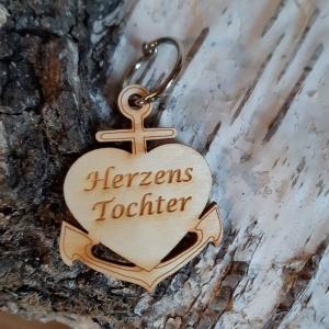 Schlüsselanhänger aus Holz ♥ Herzenstochter ♥ Anker mit Herz zum Verschenken  - Handarbeit kaufen