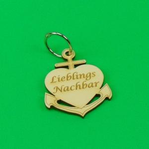 Schlüsselanhänger aus Holz ♥Lieblingsnachbar ♥ Anker mit Herz zum Verschenken - Handarbeit kaufen