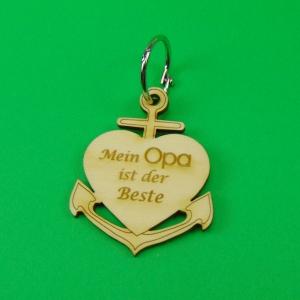 Schlüsselanhänger aus Holz ♥ Mein Opa ist der Beste ♥ Anker mit Herz zum Verschenken  - Handarbeit kaufen